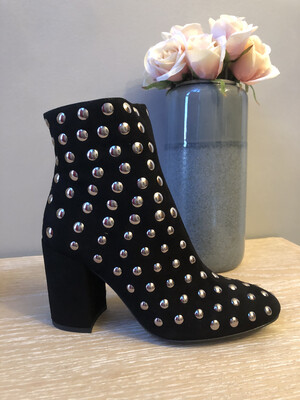 Marian - 15711 - Black Suede Silver Stud Ankle Boot