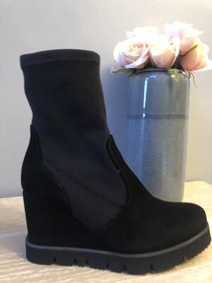 Marian - 24705 Black Suede Sock Wedge Boot