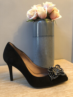 Marian - 3712 Black Suede Embellished Heel