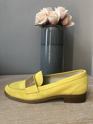 Yellow Suede Loafer with Diamante Detail