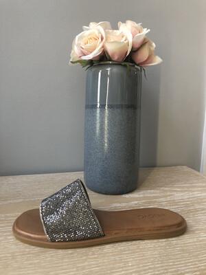 Grey Sparkle Leather Slider