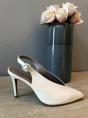 White Leather V- Cut Sling Back