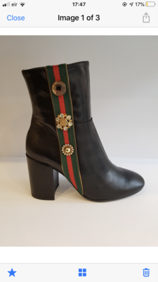 Black Leather Ankle Boot with Side Embellishment