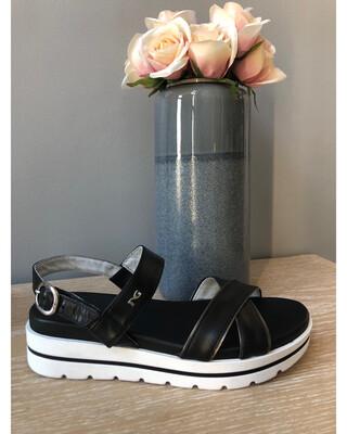 Black Leather Flat Form Sandal