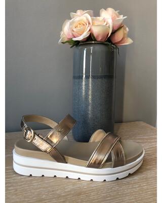 Bronze Leather Flat Form Sandal