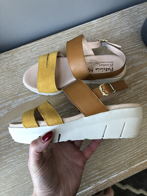 Suede & Leather Mustard Sandal