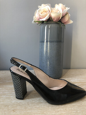 Black Leather Block Heel Slingback