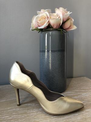 Gold Leather Stiletto Heel