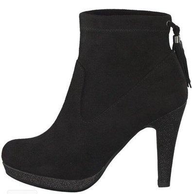 Black Suede Ankle Boot Heel Tassel Detail