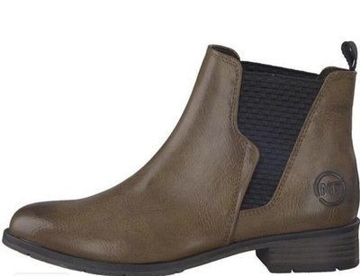 Tan Ankle Boot Black Side Detail Low Heel