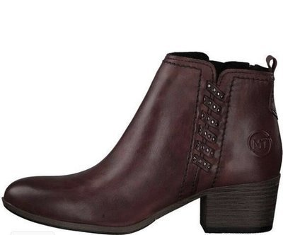 Wine Ankle Boot Wooden Heel Detail
