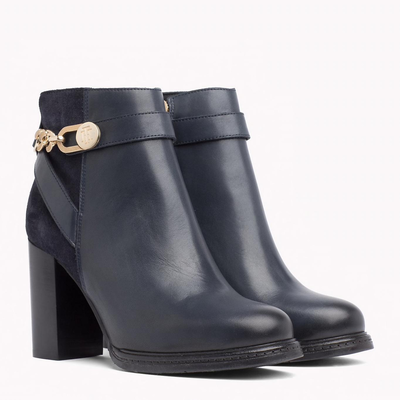Tommy Hilfiger Chain Heeled Boot Midnight