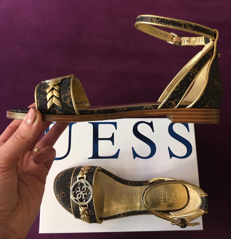 Reake Black Gold Flat Sandal Ankle Strap