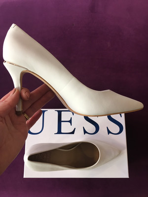 Barett White Leather Court Shoe