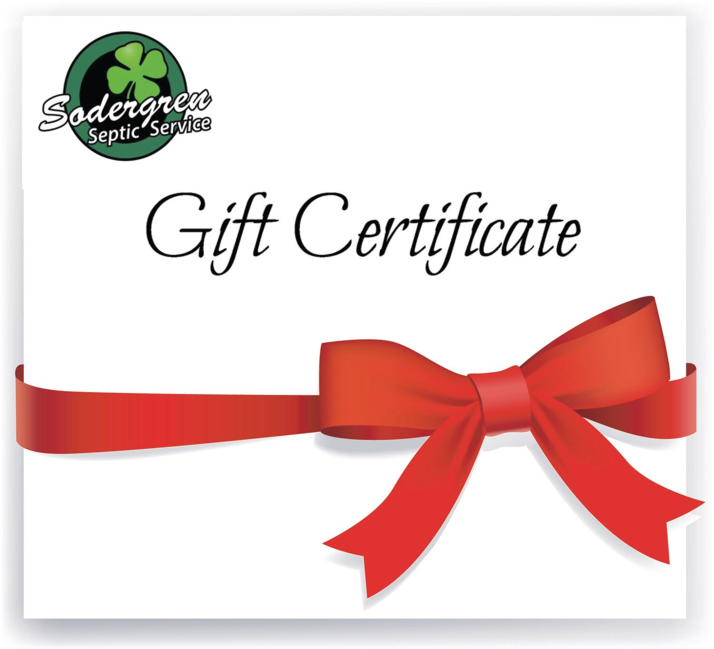 Gift Certificate from Sodergren Septic Service