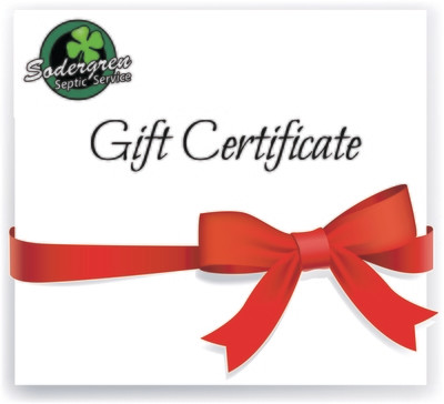 Gift Certificate from Sodergren Septic Service