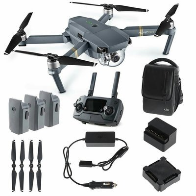DJI Mavic PRO FLY MORE COMBO: Foldable Quadcopter Drone Kit with Remote, 3 Batteries, 16GB MicroSD, Charging Hub, Car Charger, Power Bank Adapter, Shoulder Bag.