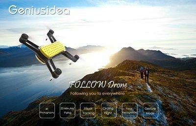 BITCOIN SPECIAL - Geniusidea Follow Drone WiFi FPV With 4K HD Camera GPS Pocket Selfie RC Quadcopter