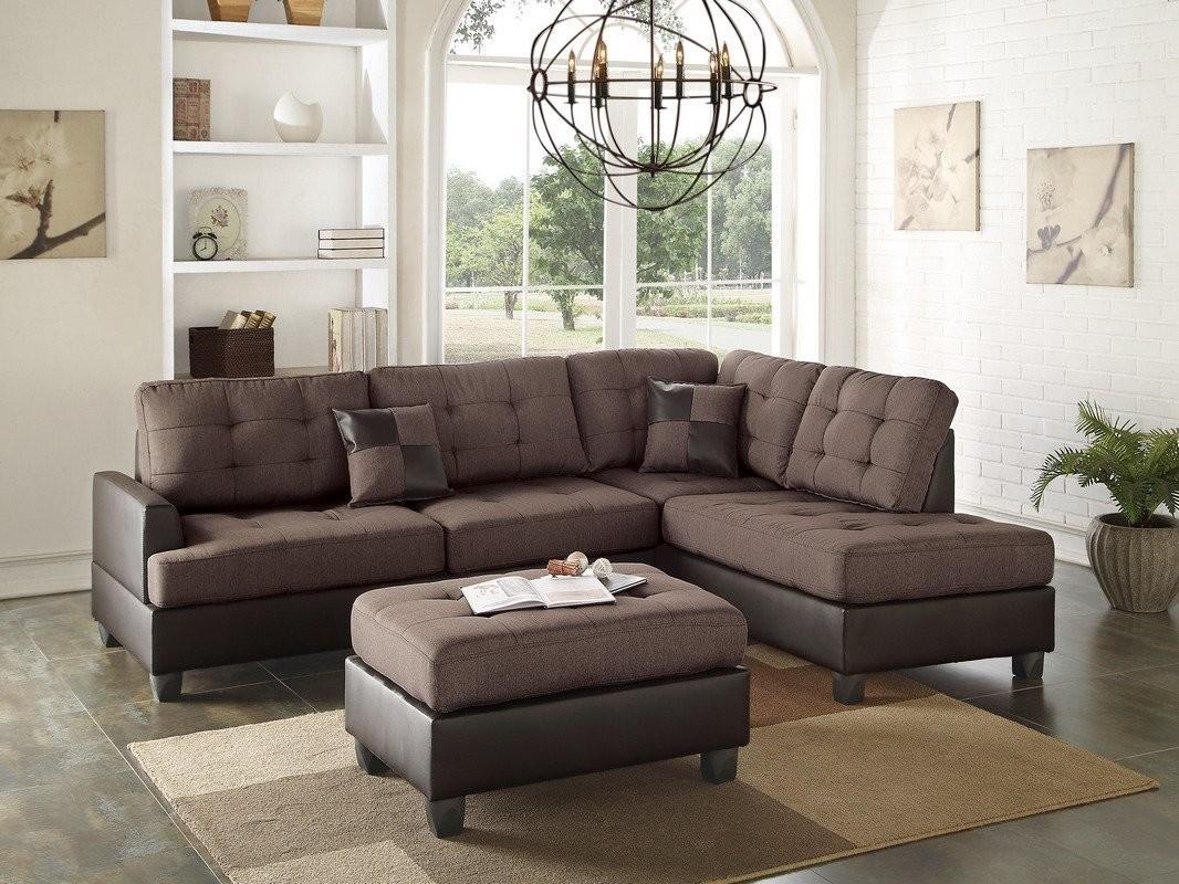 Admirable Reversible Chocolate Polyfiber Two Tone Sectional Ottoman Sofa Set Uwap Interior Chair Design Uwaporg