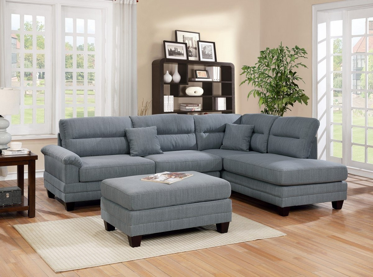 Reversible Grey Fabric Finish 3 Piece Sectional Sofa