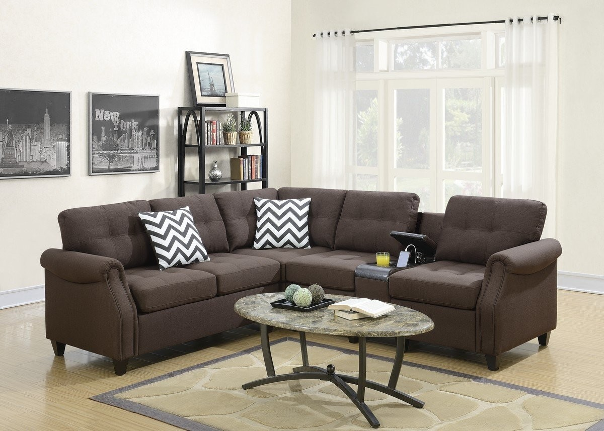 Prime 2Pc Carla Dark Coffee Linen Like Fabric Sectional Sofa With Storage Console With Usb Alphanode Cool Chair Designs And Ideas Alphanodeonline