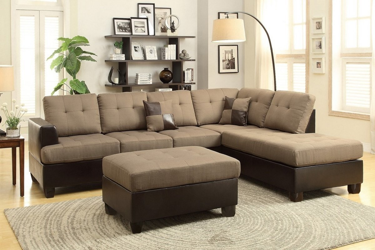 Awesome Tan Reversible Chaise Sectional Sofa With Ottoman Beatyapartments Chair Design Images Beatyapartmentscom