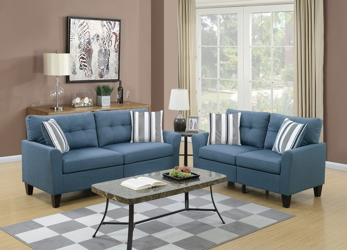 2PC blue glossy polyfiber fabric sofa and love seat set