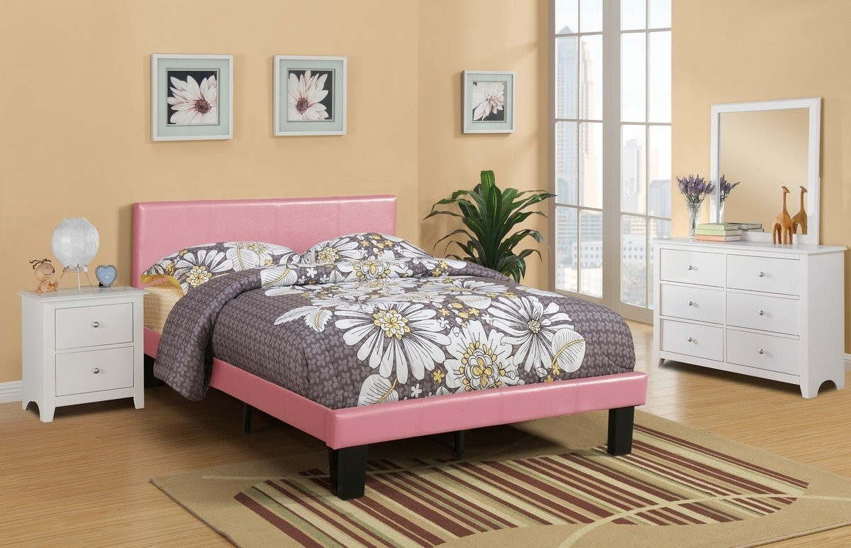 4PC Twin Platform Pink Faux Leather Bedroom Set