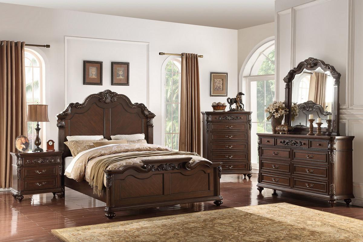 Elizabeth Dark Brown Finish Wood Carved Headboard Queen 4PC Bedroom Set
