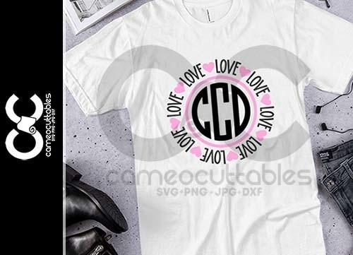 Love Hearts Monogram Frame SVG,JPG,PNG,DXF