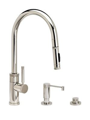 INDUSTRIAL PLP PULLDOWN FAUCET – ANGLED SPOUT -  TOGGLE SPRAYER - 3 piece Suite