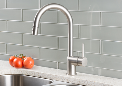 Hahn Ultra-Modern Single Lever Pull Down Kitchen Faucet Stainless Steel