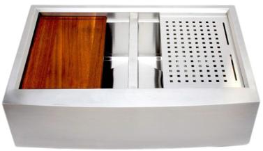 Wells Double Farmhouse Sink - 3 D Series Prep Center