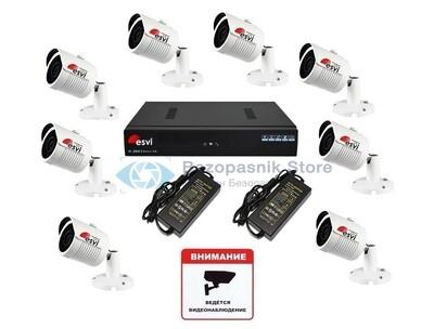 Готовый 1080P комплект уличного ip видеонаблюдения на 8 видеокамер