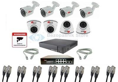 Комплект IP 1080P видеонаблюдения для улицы на 8 камеры