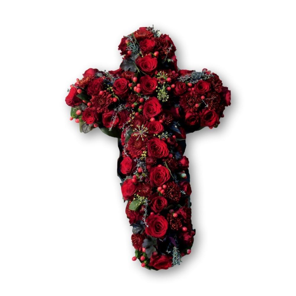 Kreuzgesteck rote Rosen
