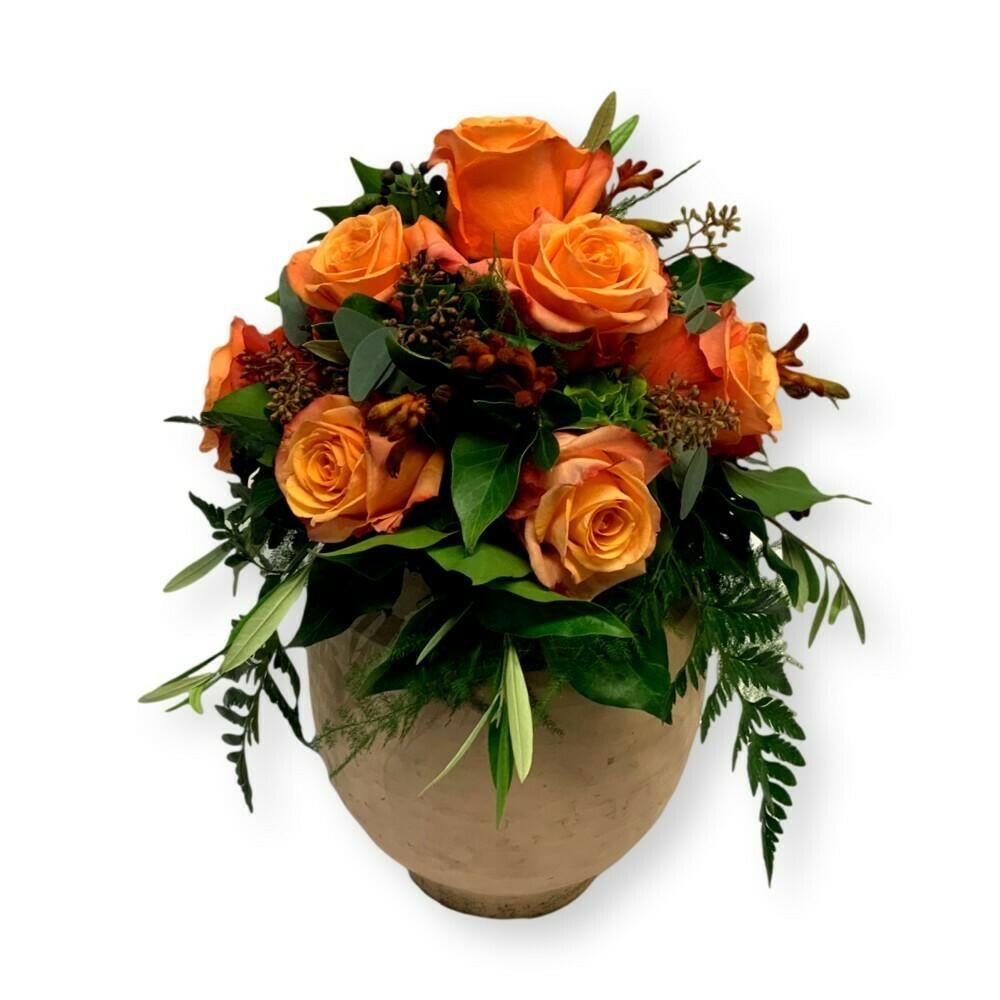 Urnenschmuck Herbst - Rosen orange