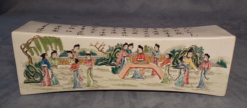 SOLD Antique Chinese Qing Dynasty enamelled Porcelain Pillow
