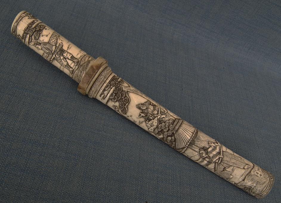 SOLD Antique Japanese Dagger Superb Tanto In Signed By Artist Bone Mounts 19th Century Meiji
