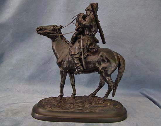 SOLD Russian Kasli Iron Sculpture Cossack The Farewell Kiss after Lansere