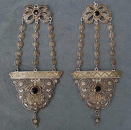 SOLD Antique Qing Dynasty Chinese Silver Filigree Headdress Ornaments Earrings