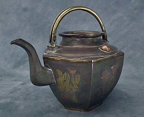 SOLD Antique Chinese 19th century Qing Dynasty Brass & Copper inlaid Pewter Teapot
