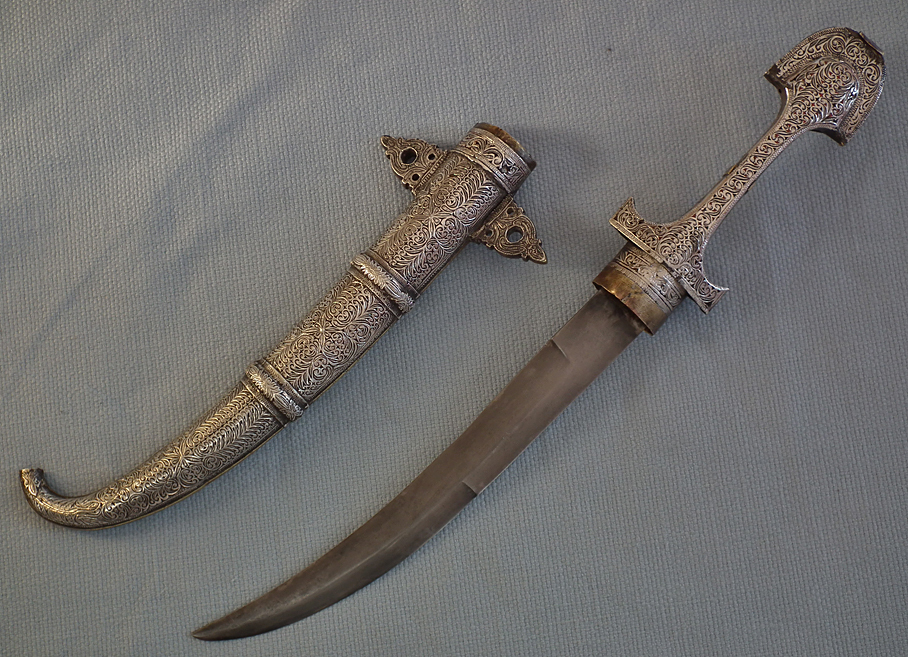 SOLD Antique Moroccan Islamic Dagger Jambiya Koummaya in Silver