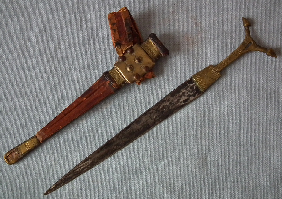 SOLD Antique Islamic Tuareg Telek Arm Dagger with Antenna Form Hilt