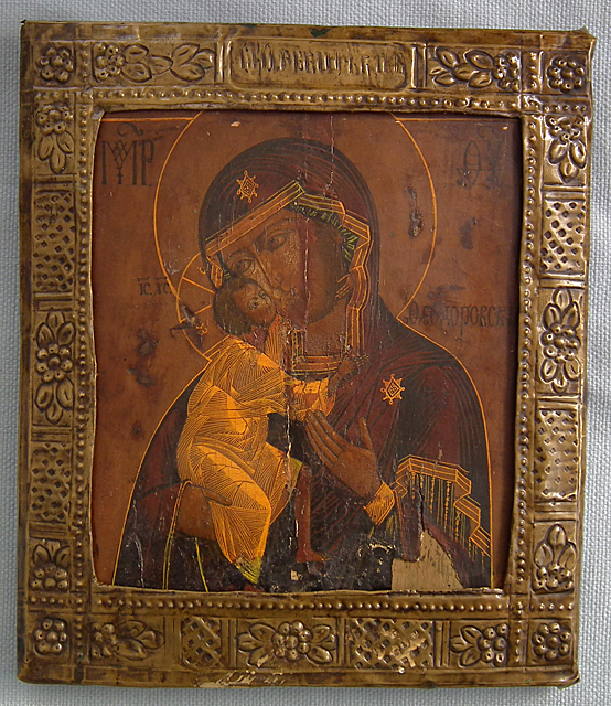 SOLD Authentic Antique 17th -19th century Russian Orthodox Icon Mother of God Fedorovskaya