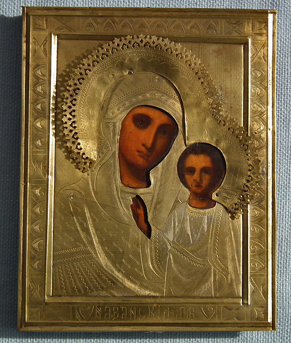 SOLD Antique 19th century Russian Icon The Kazanskaya Mother of God Theotokos of Kazan (Our Lady of Kazan)