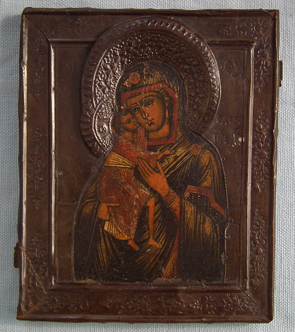SOLD Antique 19th century Russian Orthodox Icon Mother of God Fedorovskaya