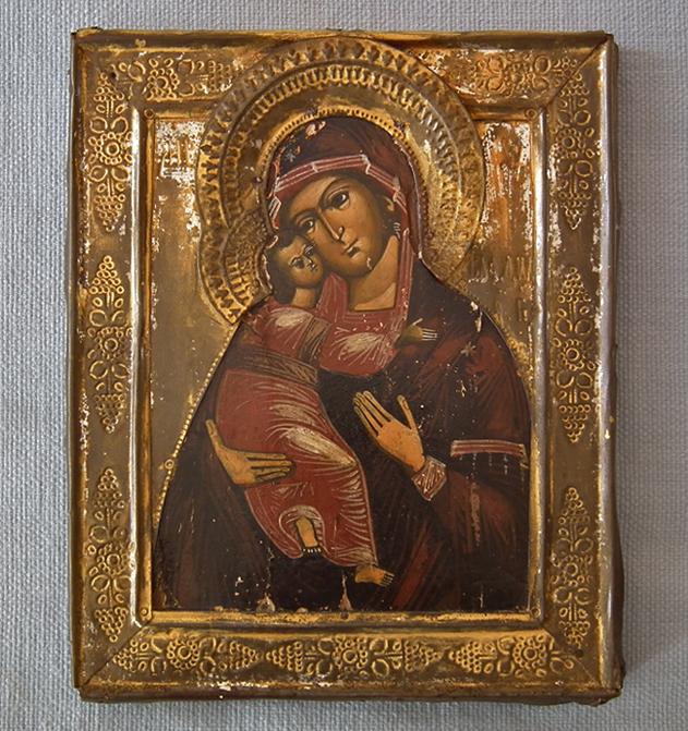 SOLD Antique 19th century Russian Orthodox Icon Mother of God of Vladimir - Vladimirskaya