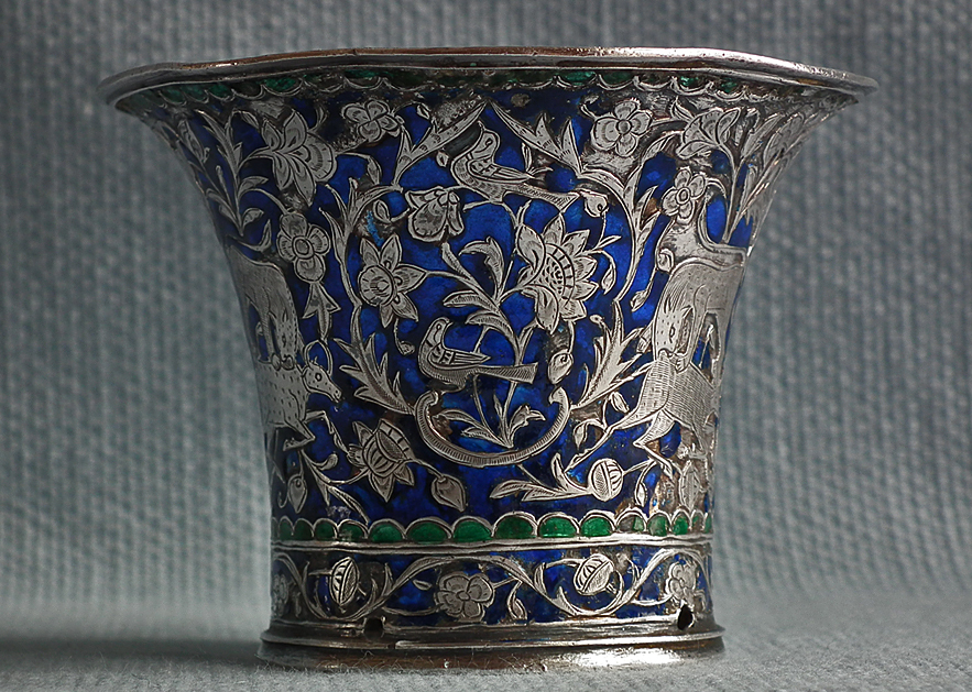 Antique Indo Persian Qajar Silver Enameled Islamic
