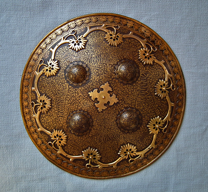 SOLD Antique Islamic Indo Persian Gold Inlaid Steel Shield Dhal Separ 18th Century Mughal India
